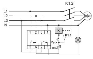 Схема подключеения реле контроля фаз CZF-BT